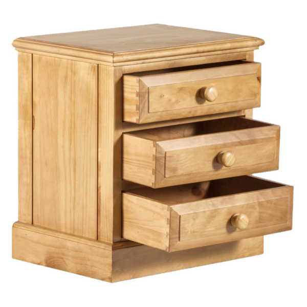 Acomb Antique Waxed Pine 3 Drawer Bedside Cabinet