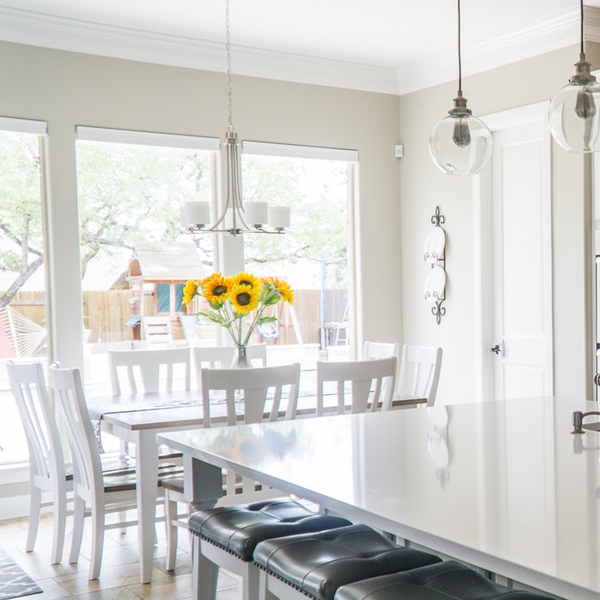 All White in Dining Room