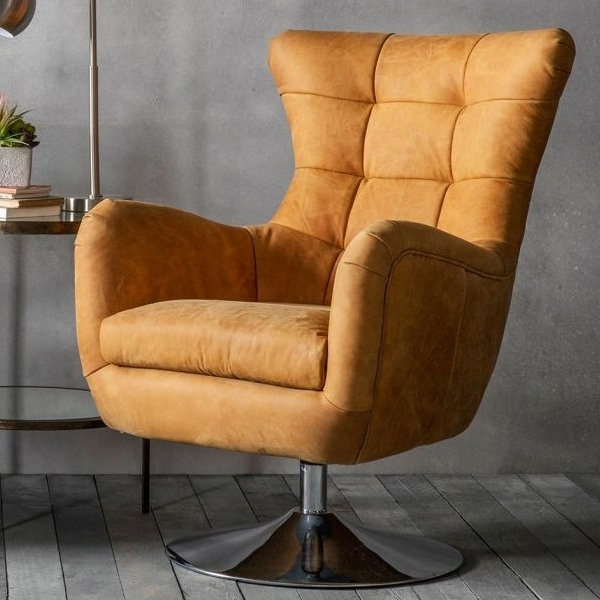 Carney Saddle Tan Swivel Chair