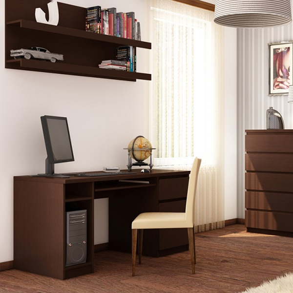 Dark Mahogany Pedestal Home Office Desk