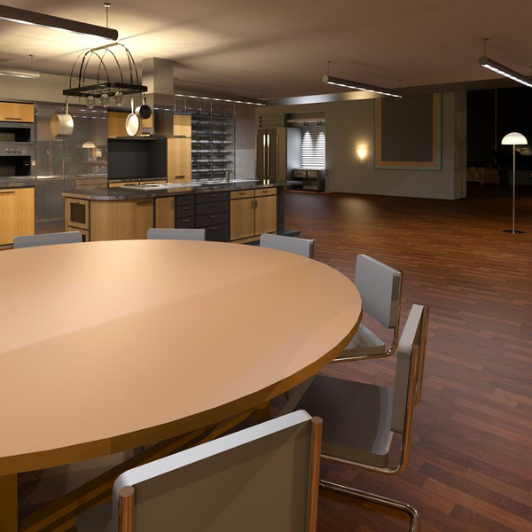 Dining Room WIth Multiple Lights