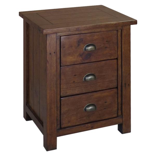 Hadstock Driftwood Style Dark Reclaimed Wood 3 Drawer Bedside Cabinet