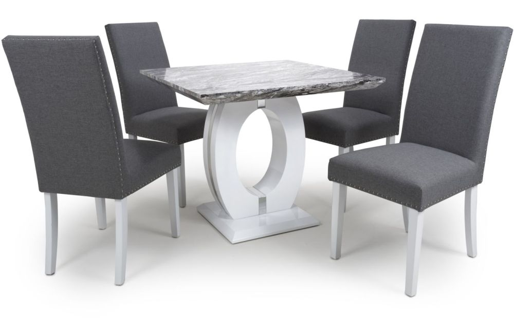 Giovanni High Gloss White With Grey Marble Effect Square Dining Table And 4 Jackson Steel Grey Dining Chairs