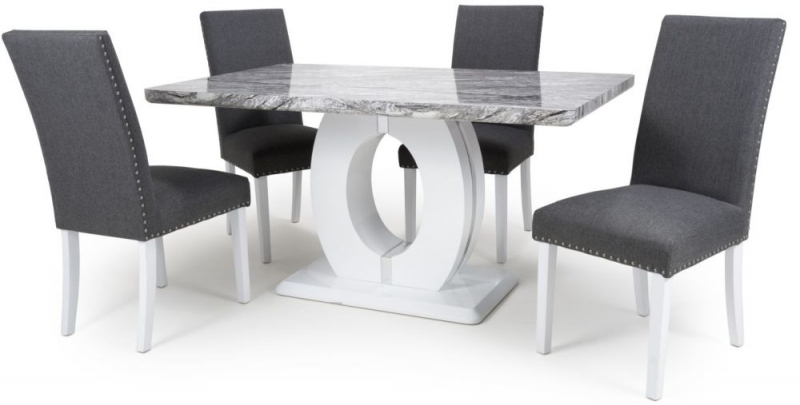 Giovanni High Gloss White With Grey Marble Effect Dining Table And 4 Jackson Steel Grey Dining