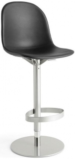Connubia Academy Metal and Leather Swivel High Bar Stool with Footrest