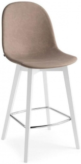 Connubia Academy W Wood and Leather Bar Stool with Footrest CB1672-LHS