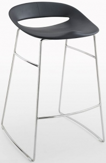 Connubia Cosmopolitan Metal Sled Base Small Bar Stool with Footrest