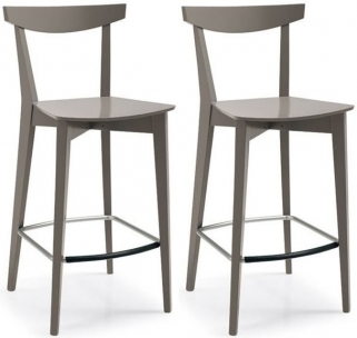 Connubia Evergreen Solid Beech Wood Bar Stool with Footrest (Pair)