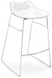 Connubia Jam Metal and Technopolymer Bar Stool with Footrest