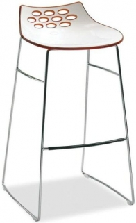 Connubia Jam Metal and Technopolymer High Bar Stool with Footrest