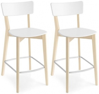 Connubia Jelly Solid Beech Bar Stool with Footrest (Pair)