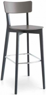 Connubia Jelly Solid Beech High Bar Stool with Footrest