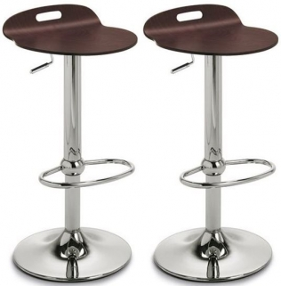 Connubia Rock Chrome Plated Metal Swivel Bar Stool with Footrest