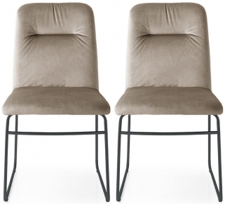Connubia Greta Leather Dining Chair with Metal Base (Pair)