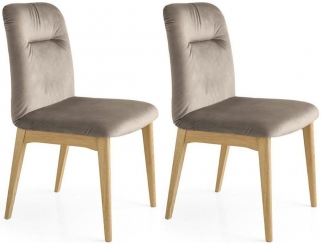 Connubia Greta Leather Dining Chair with Wooden Legs (Pair)