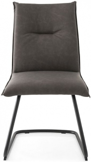 Connubia Maya Upholstered Vintage Leather Dining Chair with Metal Cantilever Base