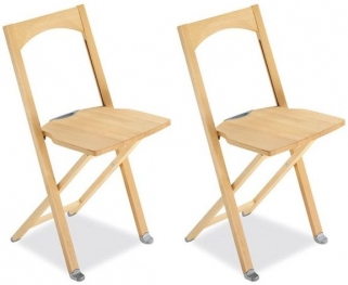 Connubia Olivia Solid Wood Folding Dining Chair with Hook (Pair)