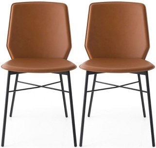 Connubia Sibilla Regenerated Leather Dining Chair with Metal Legs (Pair)