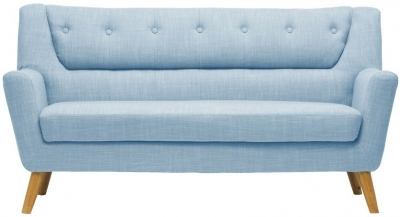 Erin Duck Egg Blue Fabric 3 Seater Sofa