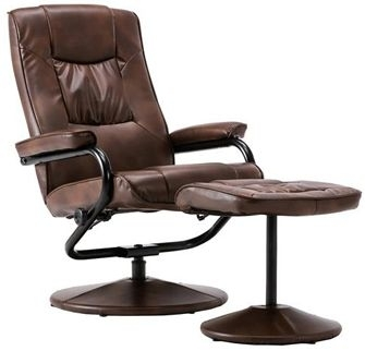 Freya Tan Faux Leather Swivel Recliner Chair and Footstool