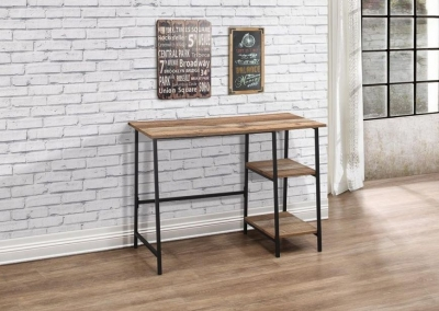 Industrial Rustic Study Desk with Metal Frame