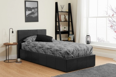 Margot Black Faux Leather Ottoman Bed