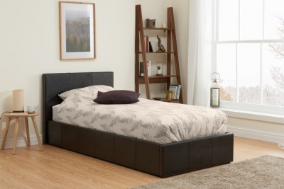 Margot Brown Faux Leather Ottoman Bed