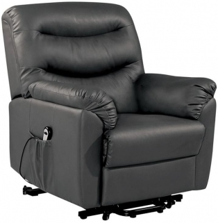 Riva Black Faux Leather Rise and Recliner Chair