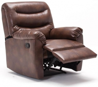 Riva Bronze Brown Faux Leather Recliner Chair