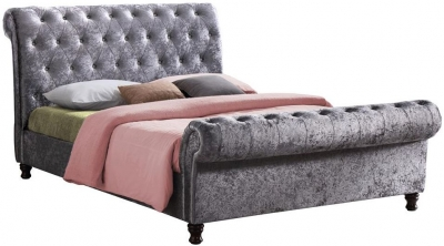 Safina Steel Crushed Velvet Bed