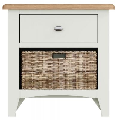 Graceton Oak and White Painted 1 Drawer 1 Basket Unit