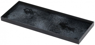 Charcoal Heavy Aged Black Metal Rim Large Rectangular Mirror Tray (Set of 5)