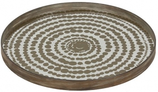 Gold Beads Large Round Mist Aged Mirror Tray