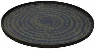 Midnight Blue Extra Large Round Stained Beaded Tray