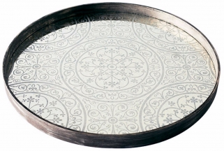 Moroccan Frost Large Round Light Aged Mirror Tray