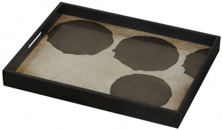 Silver Dots Small Rectangular Glass Tray