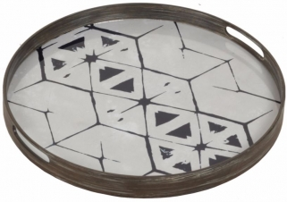 Tribal Hexagon Small Round Glass Tray