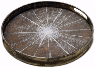 White Slice Small Round Driftwood Tray