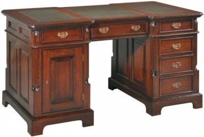 Palais French Mahogany and Burgandy Leather 140cm Partners Desk