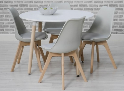 Urban Round Dining Table and 4 Chairs - White and Grey
