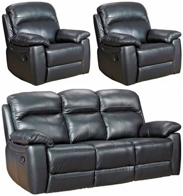 Aston Black Leather 3+1+1 Seater Fixed Sofa Suite