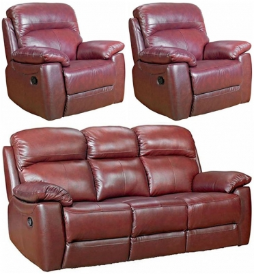 Aston Chestnut Leather 3+1+1 Seater Fixed Sofa Suite
