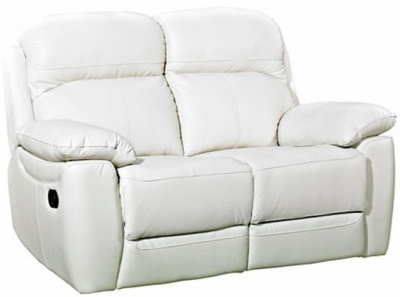 Aston Ivory Leather 2 Seater Recliner Sofa