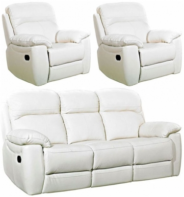 Aston Ivory Leather 3+1+1 Seater Fixed Sofa Suite