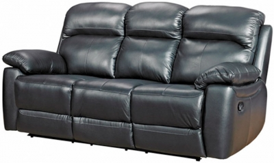 Aston Black Leather 3 Seater Recliner Sofa