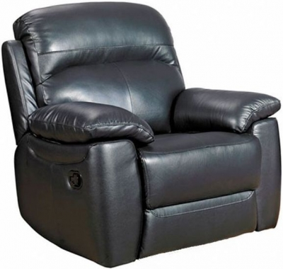 Aston Black Leather Fixed Armchair