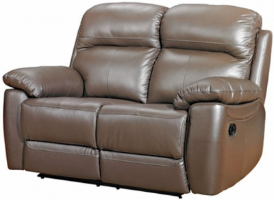 Aston Brown Leather 2 Seater Recliner Sofa