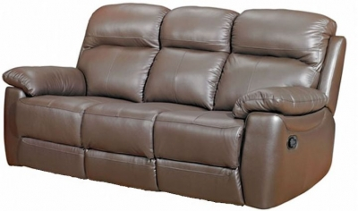 Aston Brown Leather 3 Seater Fixed Sofa