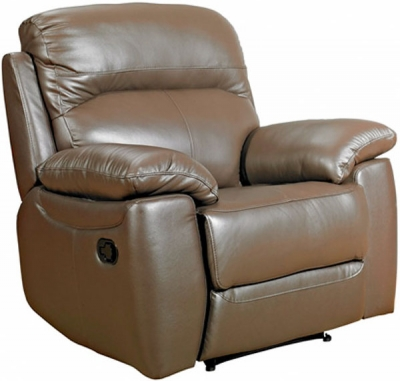 Aston Brown Leather Recliner Armchair