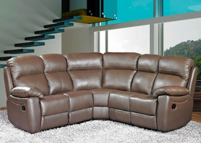 Aston Brown Leather Recliner Corner Group